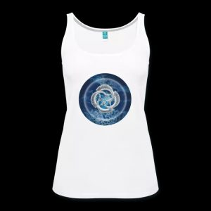 blue fish circle - female white vest