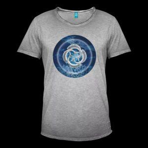 blue fish circle - male grey T